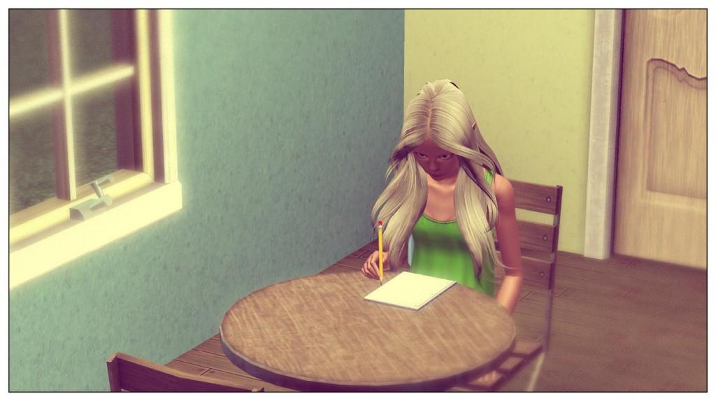 Anna bei den Hausaufgaben