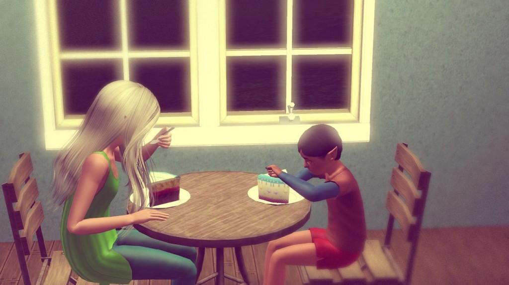 Geburtstagskuchen essen
