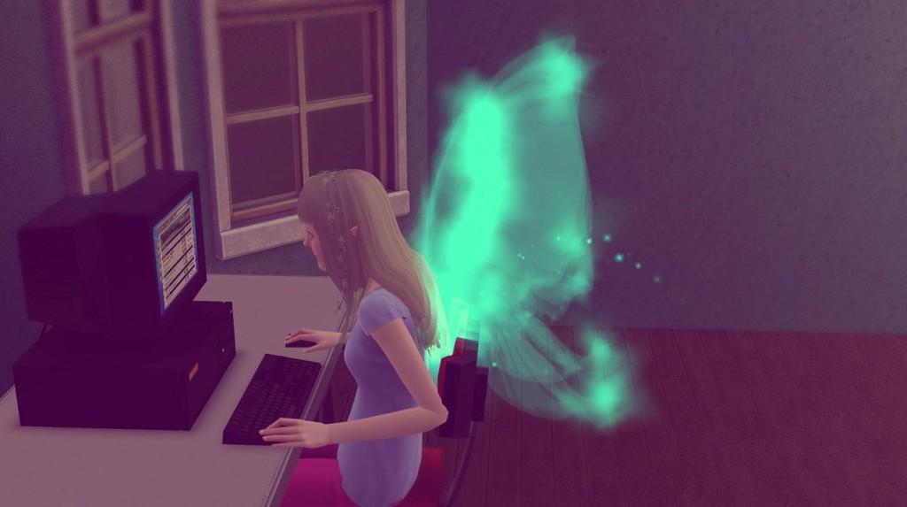 Elena setzt sich vor dem Computer
