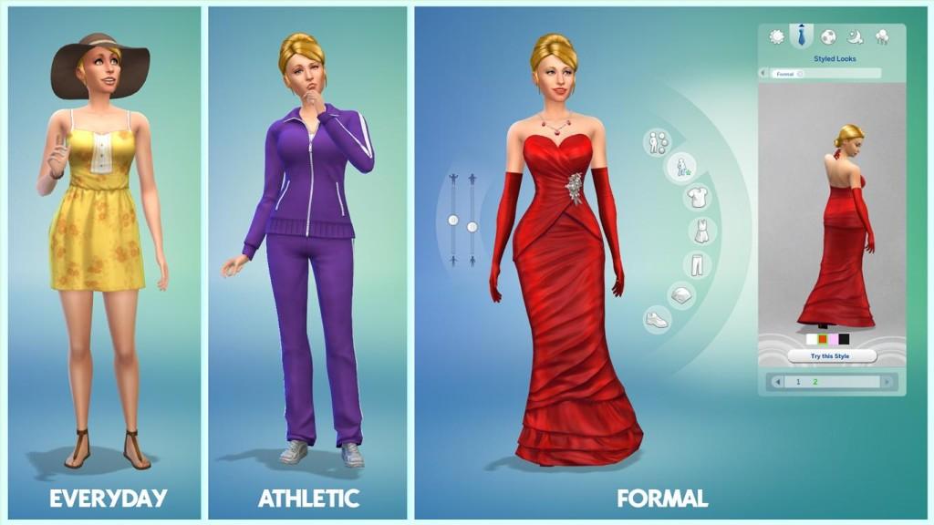 unterschiedliche Kleiderkategorien in Sims  4