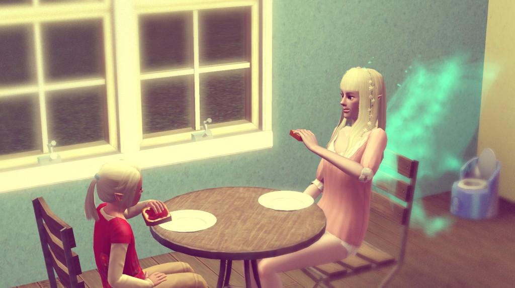 Elena und Anna essen gemeinsam
