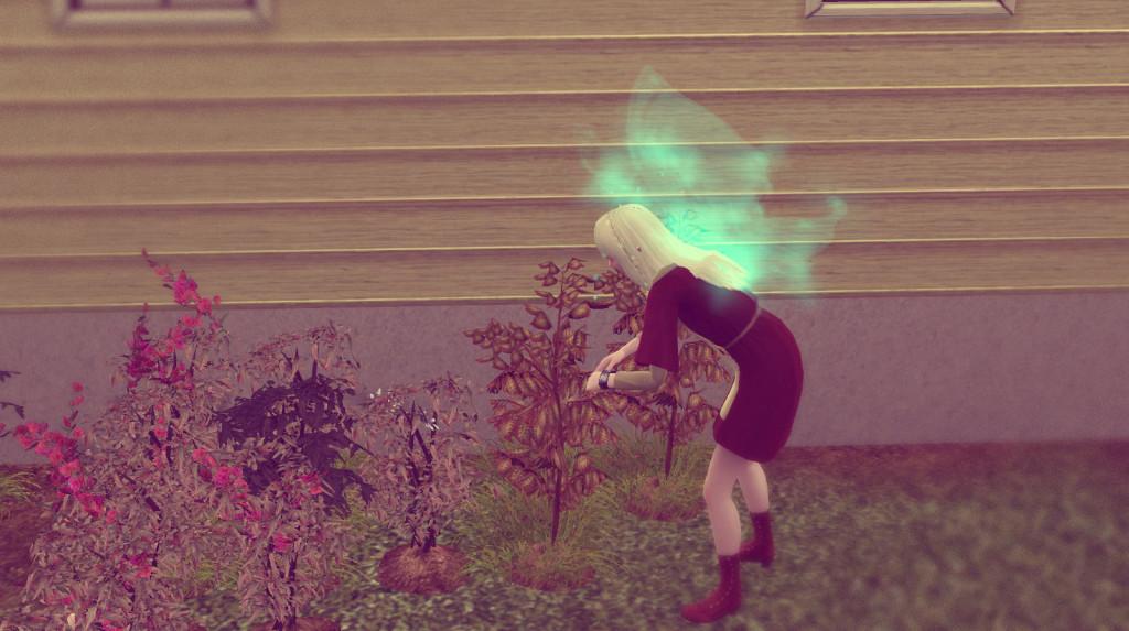 Elena arbeit an ihren Garten
