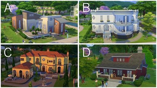 Unterschiedliche Bauten in Sims 4