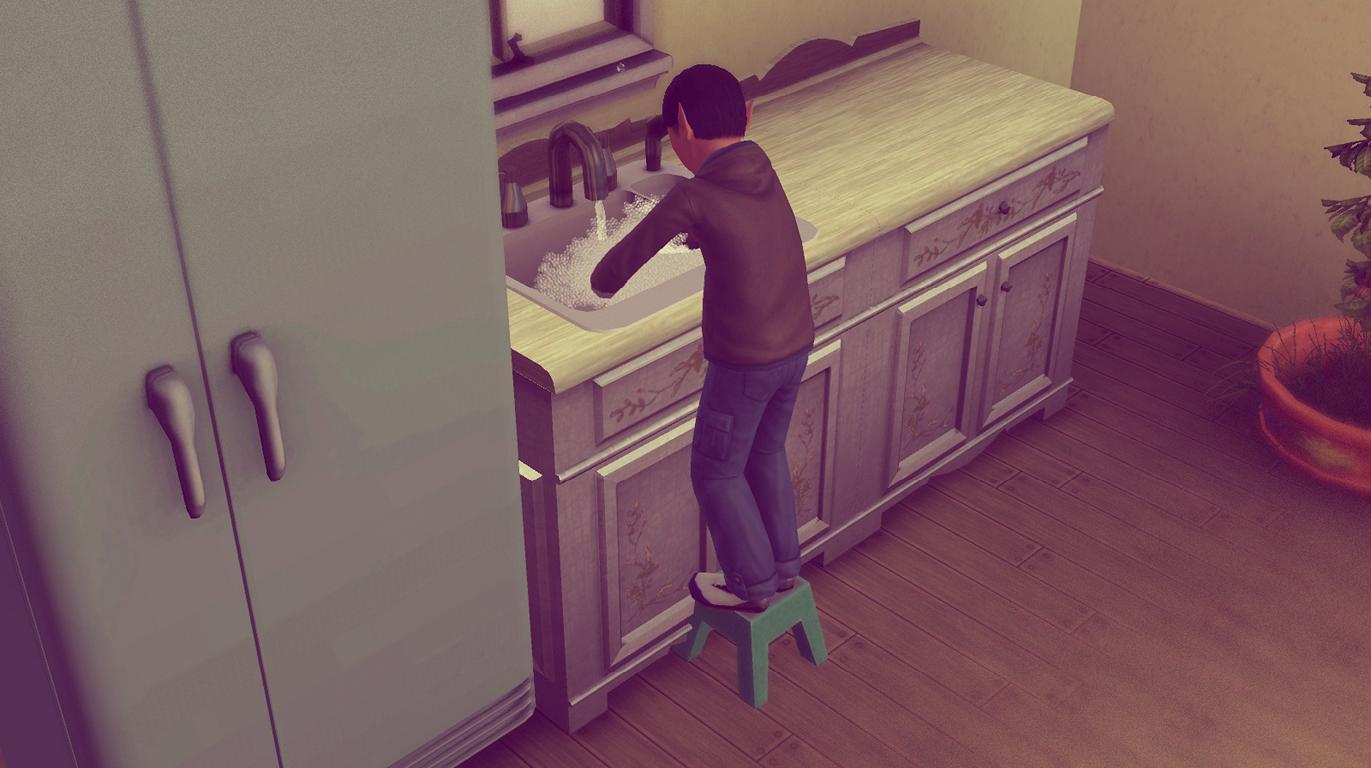 Alfred wäscht das Geschirr ab