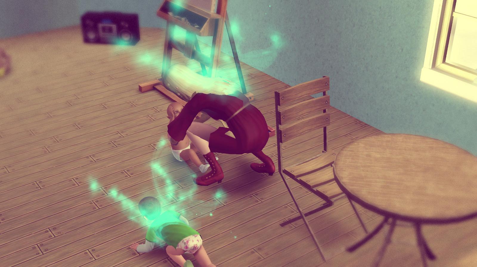 Elena kümmert sich um die Drillinge