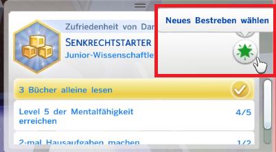 Sims 4 neues Bestreben wählen