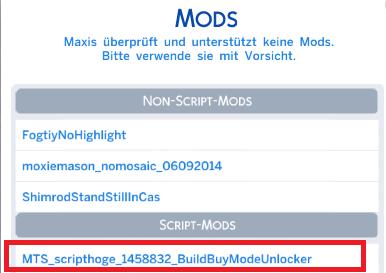 Sims 4 scripted Mod Bestätigung