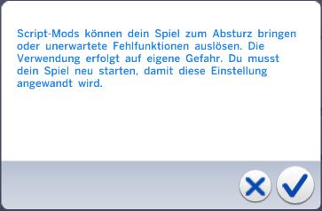 Sims 4 scripted Mod aktiviert