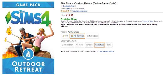 Sims 4 Outdoor Leben bei Amazon