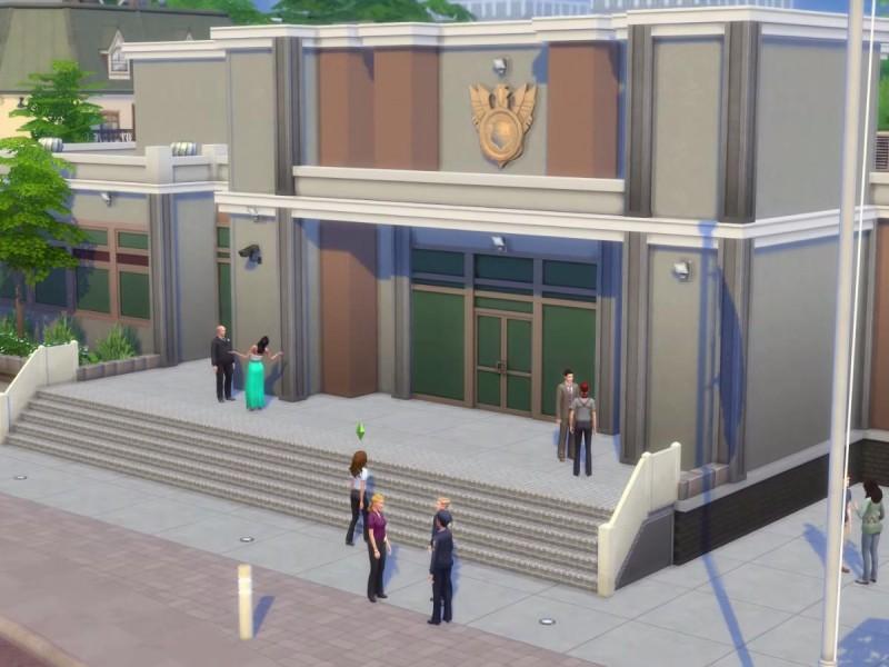 Die Sims 4 Erweiterung vor dem Polizeirevier