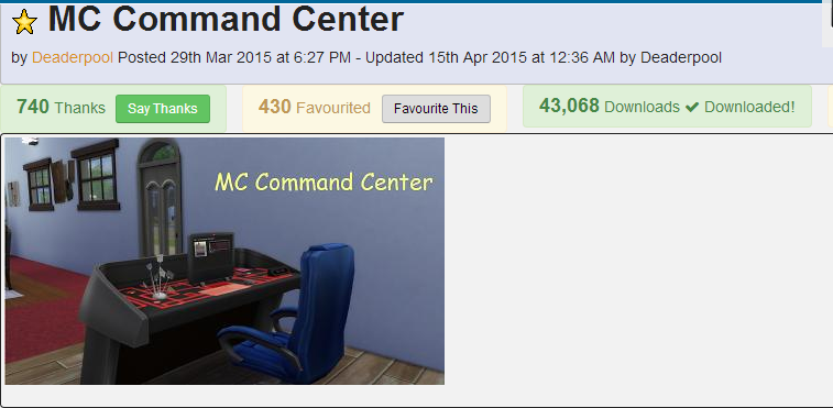 MC Command Center auf modthesims